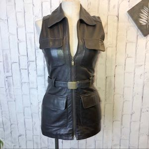 Brown genuine leather belted vest.
